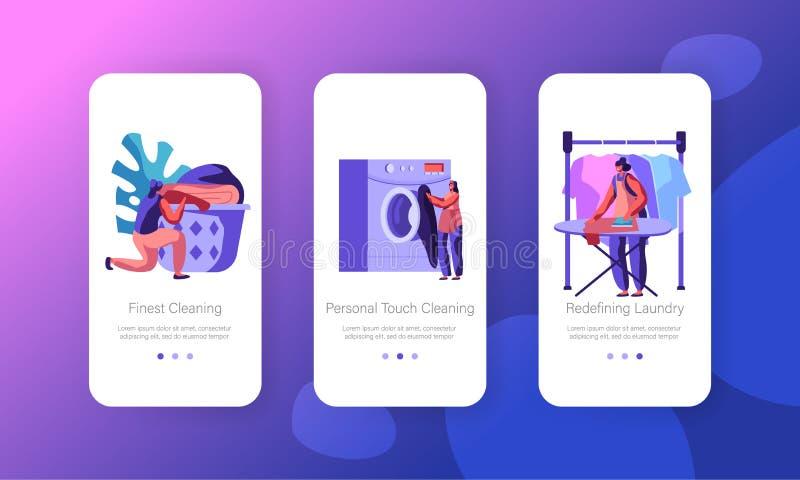 Θηλυκός χαρακτήρας στην έννοια πλυντηρίων Πλυντήριο, σιδέρωμα, που βάζει το καθαρό λινό στο καλάθι Κινητή App πλυντηρίων σελίδα ε απεικόνιση αποθεμάτων