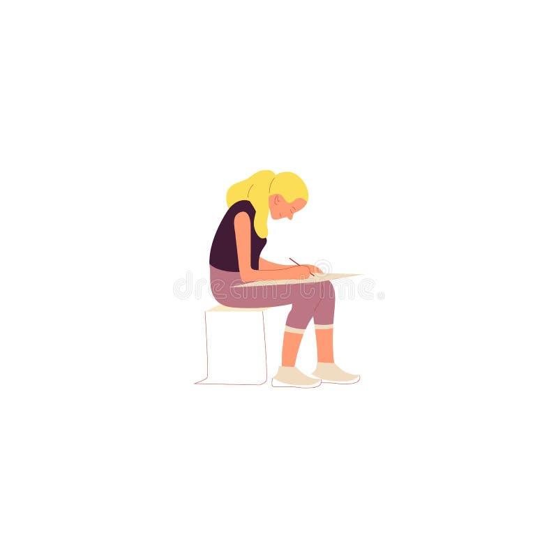 Θηλυκός χαρακτήρας στην περιστασιακά συνεδρίαση και το σχέδιο εξαρτήσεων σε υπαίθριο Καλλιτέχνης που χρωματίζει υπαίθρια ελεύθερη απεικόνιση δικαιώματος