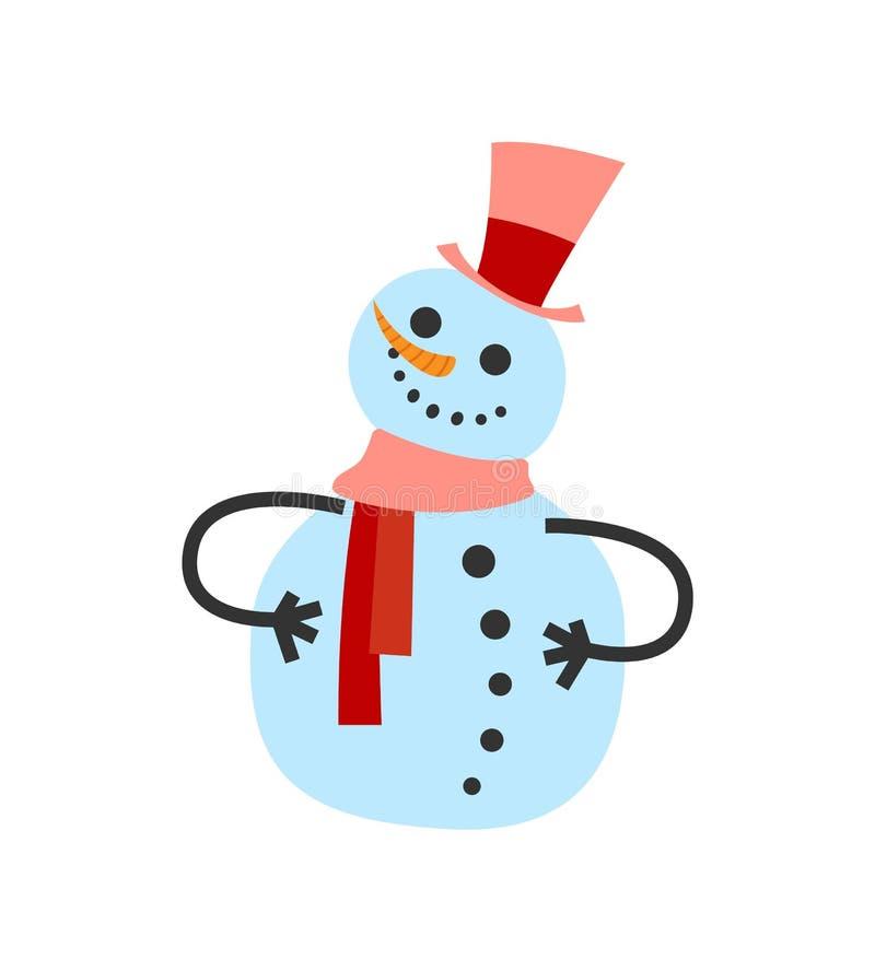 Θηλυκός χιονάνθρωπος στο θερμό χειμερινό μαντίλι και σνομπ διανυσματική απεικόνιση