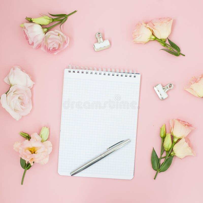 Θηλυκός χώρος εργασίας γραφείων Σημειωματάριο copyspace Επίπεδος βάλτε, κοινωνικά μέσα, τοπ άποψη Ρόδινα λουλούδια και τσάι στο ρ στοκ εικόνες