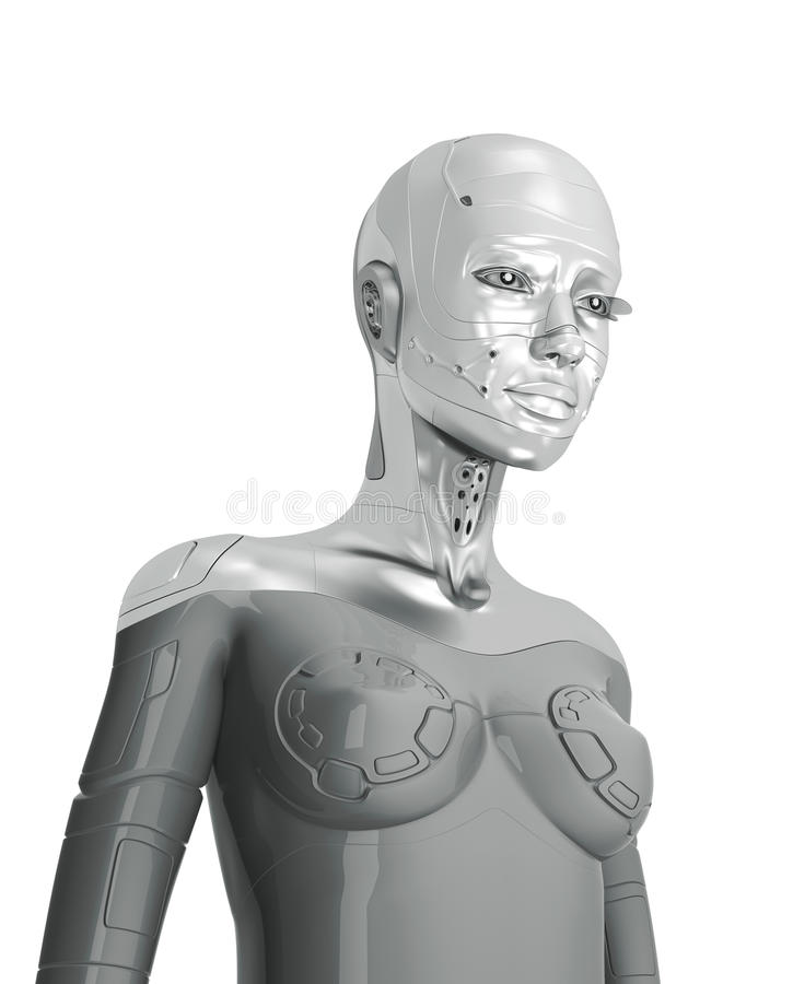 Θηλυκό ασημένιο cyborg απεικόνιση αποθεμάτων