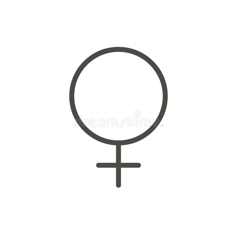 Θηλυκό διάνυσμα εικονιδίων γένους Σύμβολο φύλων γυναικών γραμμών που απομονώνεται τάση διανυσματική απεικόνιση