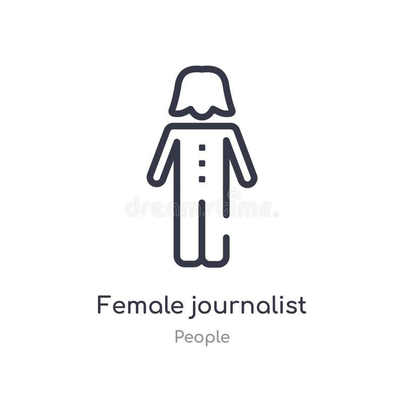 θηλυκό εικονίδιο περιλήψεων δημοσιογράφων απομονωμένη διανυσματική απεικόνιση γραμμών από τη συλλογή ανθρώπων editable λεπτός θηλ απεικόνιση αποθεμάτων