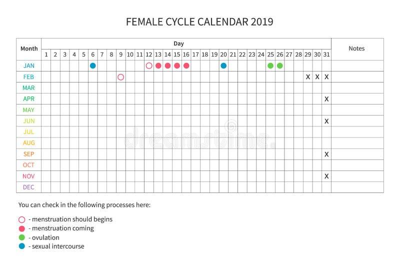 Θηλυκό ημερολόγιο κύκλων διανυσματική απεικόνιση