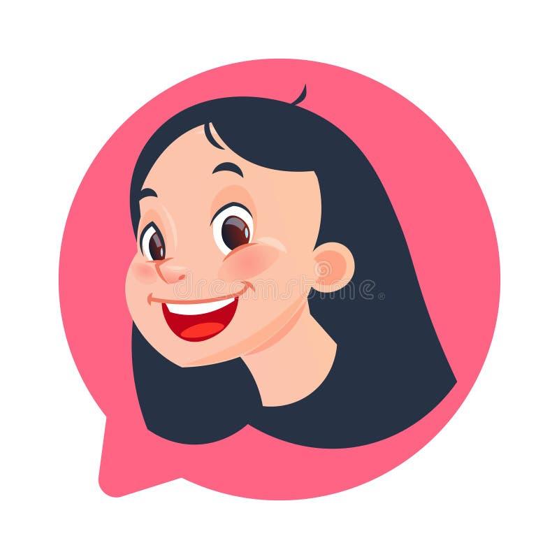 Θηλυκό κεφάλι εικονιδίων σχεδιαγράμματος στη φυσαλίδα συνομιλίας που απομονώνεται, νέο καυκάσιο πορτρέτο χαρακτήρα κινουμένων σχε διανυσματική απεικόνιση