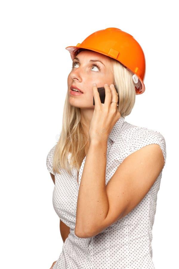 θηλυκό κινητό τηλέφωνο αρχ& στοκ εικόνα