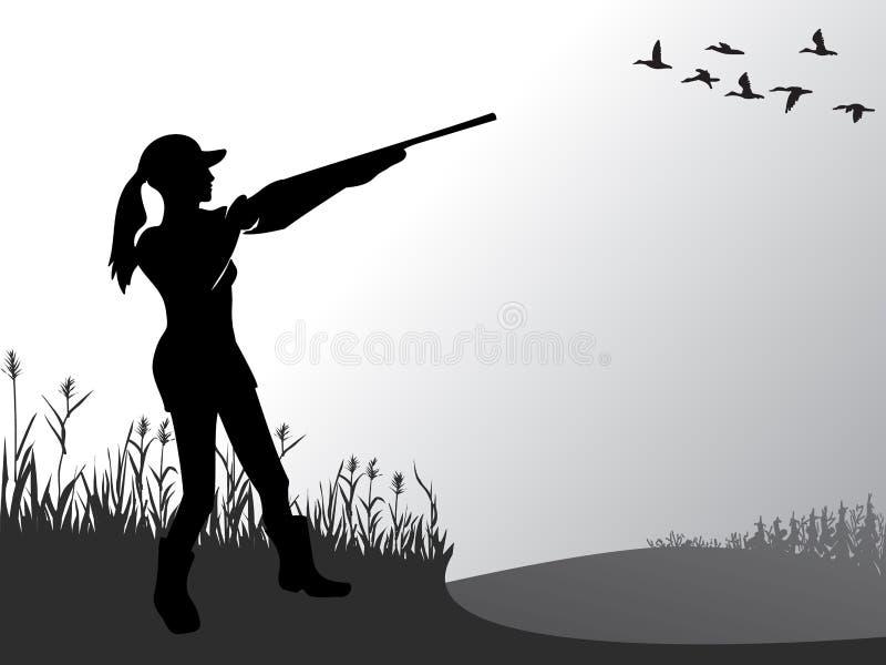 Θηλυκό κυνήγι Το κορίτσι πυροβολεί στις πετώντας πάπιες Μια γυναίκα με ένα πυροβόλο όπλο ενεργός τρόπος ζωής Χόμπι για τους γεννα απεικόνιση αποθεμάτων