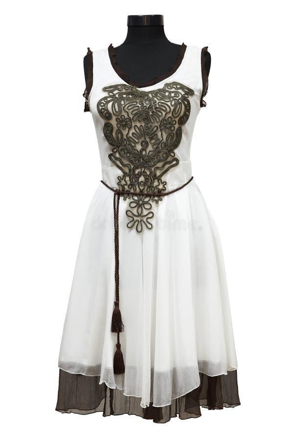 θηλυκό λευκό φορεμάτων στοκ φωτογραφία με δικαίωμα ελεύθερης χρήσης