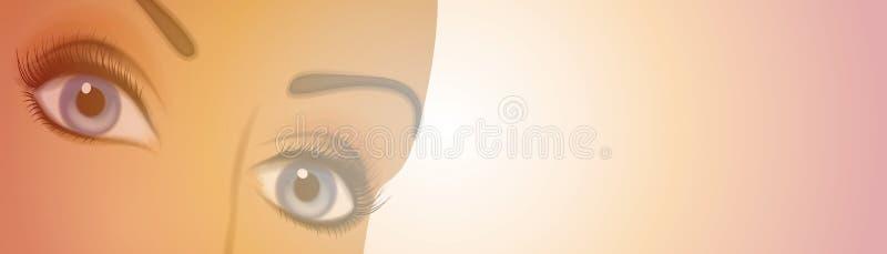θηλυκό λογότυπο ματιών ε&m απεικόνιση αποθεμάτων