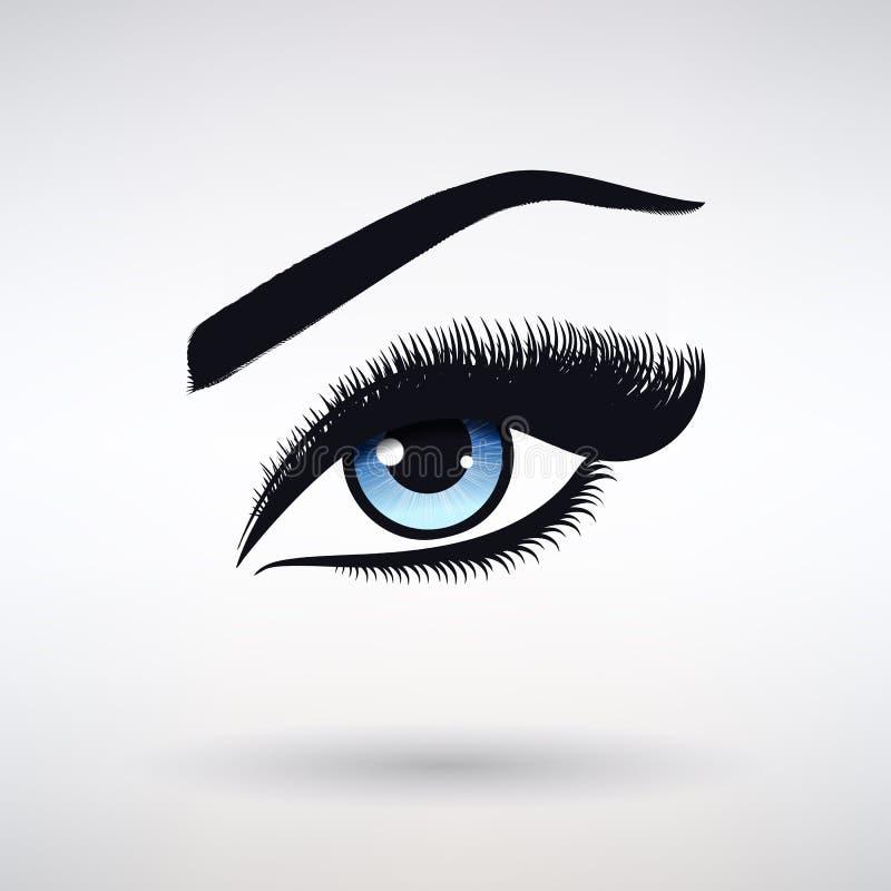 Θηλυκό μάτι με την μπλε Iris και μακρύ Eyelashes απεικόνιση αποθεμάτων