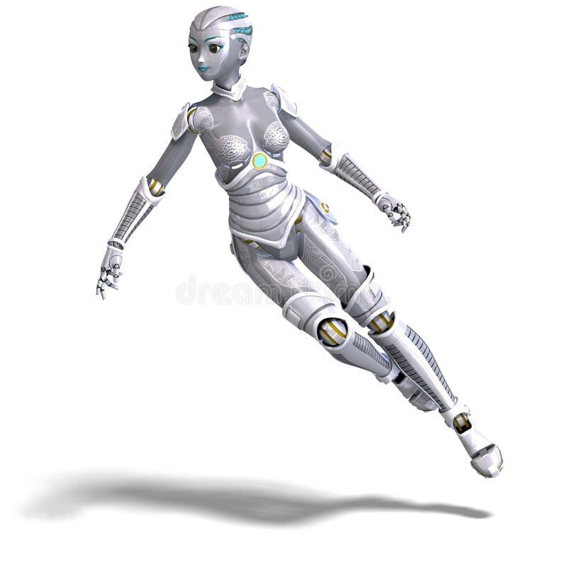 θηλυκό μεταλλικό ρομπότ π&rh απεικόνιση αποθεμάτων
