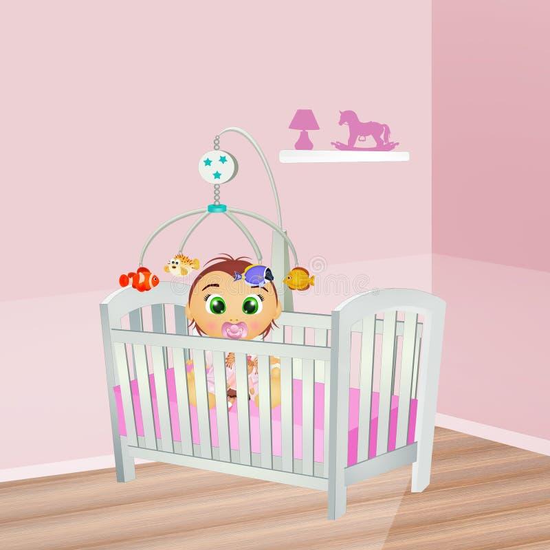 Θηλυκό μωρών στην κούνια διανυσματική απεικόνιση