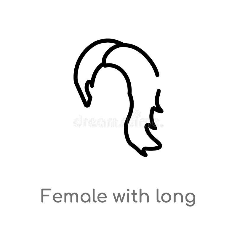 θηλυκό περιλήψεων με το μακρυμάλλες διανυσματικό εικονίδιο απομονωμένη μαύρη απλή απεικόνιση στοιχείων γραμμών από την έννοια ιμα απεικόνιση αποθεμάτων
