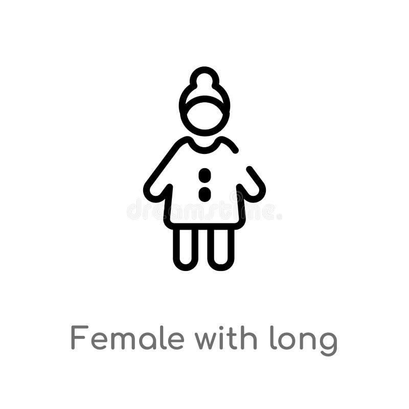θηλυκό περιλήψεων με το μακρυμάλλες διανυσματικό εικονίδιο απομονωμένη μαύρη απλή απεικόνιση στοιχείων γραμμών από την έννοια ανθ διανυσματική απεικόνιση