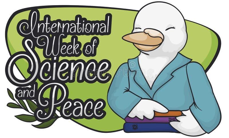 Θηλυκό περιστέρι επιστημόνων που γιορτάζει τη διεθνή εβδομάδα της επιστήμης και της ειρήνης, διανυσματική απεικόνιση ελεύθερη απεικόνιση δικαιώματος