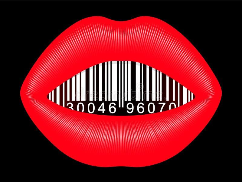 θηλυκό στόμα γραμμωτών κωδί διανυσματική απεικόνιση