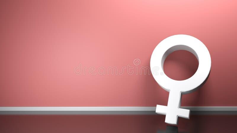 Θηλυκό σύμβολο που κλίνει στο ρόδινο τοίχο - τρισδιάστατη απόδοση απεικόνιση αποθεμάτων