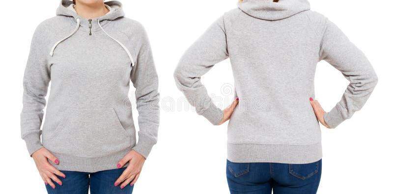 Θηλυκό σώμα στο πρότυπο hoodie: μέτωπο και οπισθοσκόπος στοκ εικόνες με δικαίωμα ελεύθερης χρήσης
