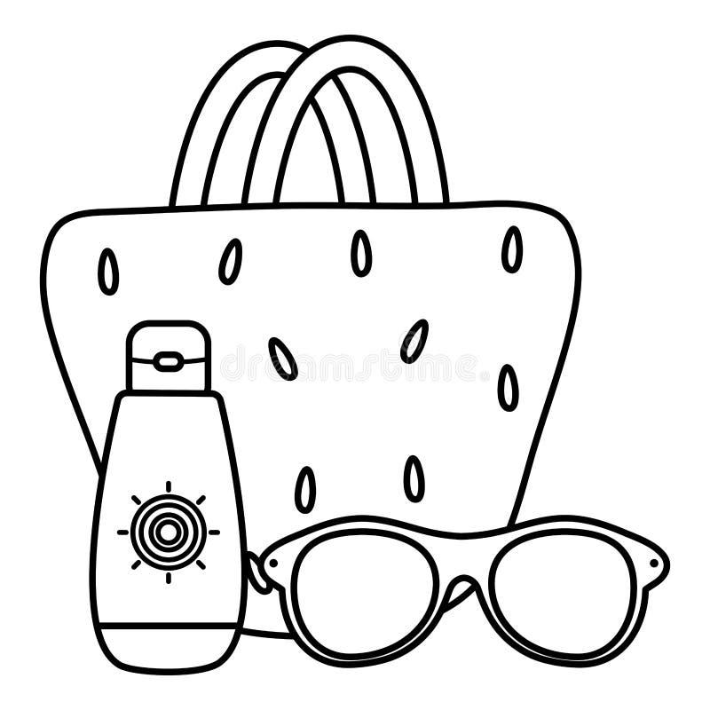 Θηλυκό τσαντών με τα γυαλιά ηλίου και blocker ηλιακό διανυσματική απεικόνιση