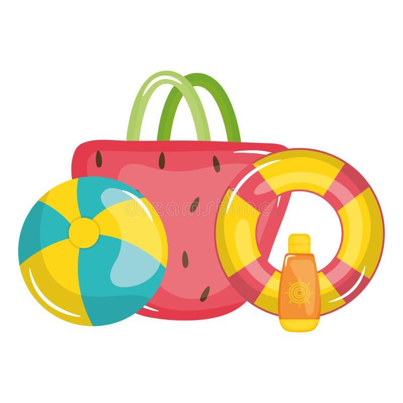 Θηλυκό τσαντών με το επιπλέον σώμα lifeguard και το παιχνίδι μπαλονιών απεικόνιση αποθεμάτων