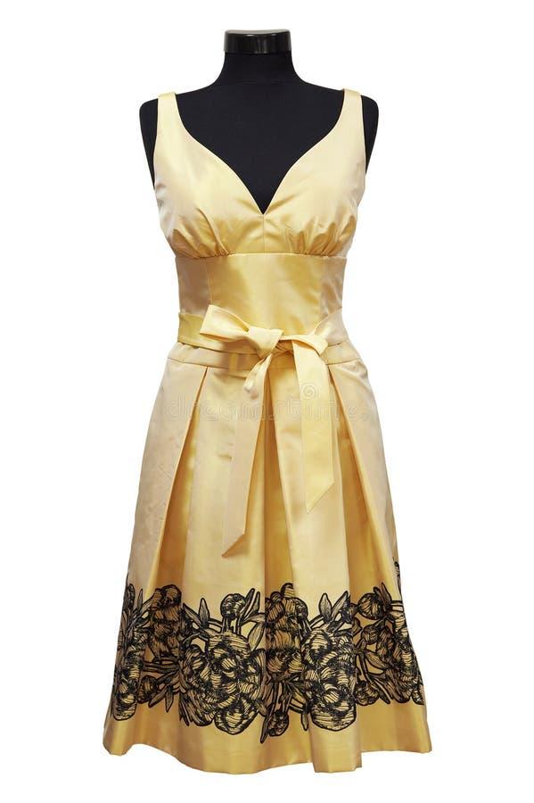 θηλυκό φορεμάτων κίτρινο στοκ εικόνα