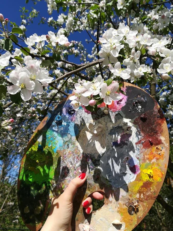 Θηλυκό χέρι με ένα μαχαίρι παλετών και μια παλέτα για τα χρώματα στα πλαίσια των ανθίζοντας δέντρων μηλιάς στοκ φωτογραφίες με δικαίωμα ελεύθερης χρήσης