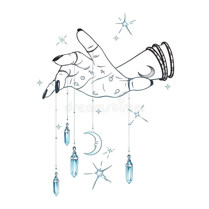 Θηλυκό χέρι με τα κρεμαστά κοσμήματα πολύτιμων λίθων και τη συρμένη χέρι διανυσματική απεικόνιση φεγγαριών Κομψό πέπλο δερματοστι διανυσματική απεικόνιση