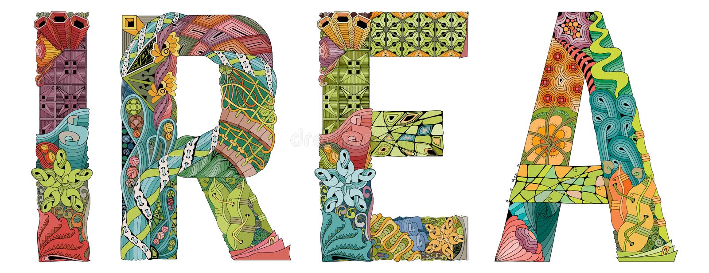 Θηλυκό όνομα Irea Διανυσματικό διακοσμητικό αντικείμενο zentangle απεικόνιση αποθεμάτων