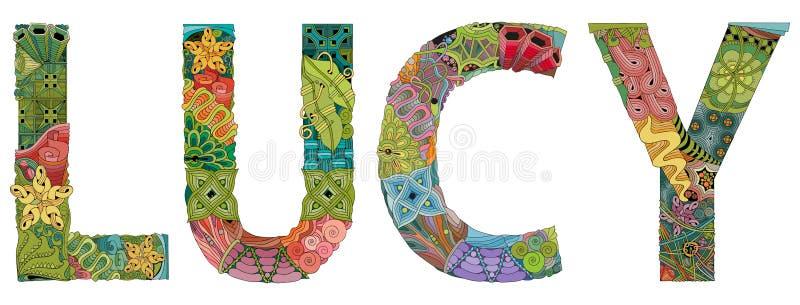 Θηλυκό όνομα LUCY Διανυσματικό διακοσμητικό αντικείμενο zentangle απεικόνιση αποθεμάτων