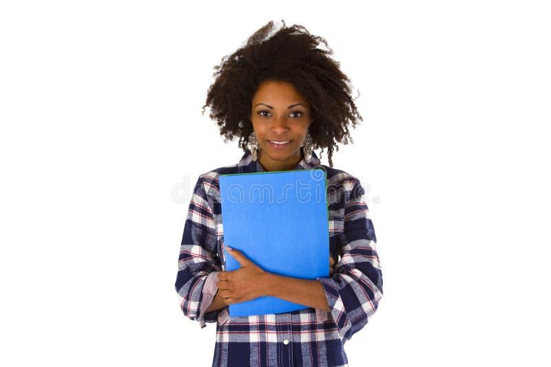 Θηλυκό afro Αμερικανός με μια εφαρμογή εργασίας στοκ φωτογραφία