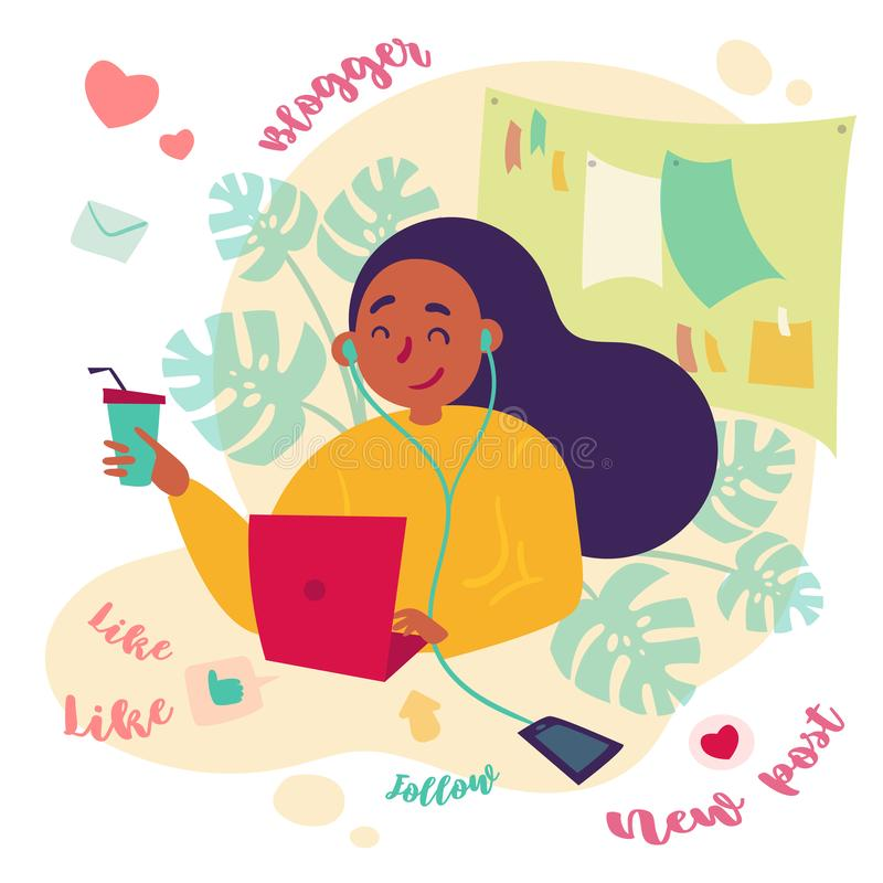 Θηλυκό blogger, εργασίες ανεξάρτητων συγγραφέων με το lap-top διανυσματική απεικόνιση