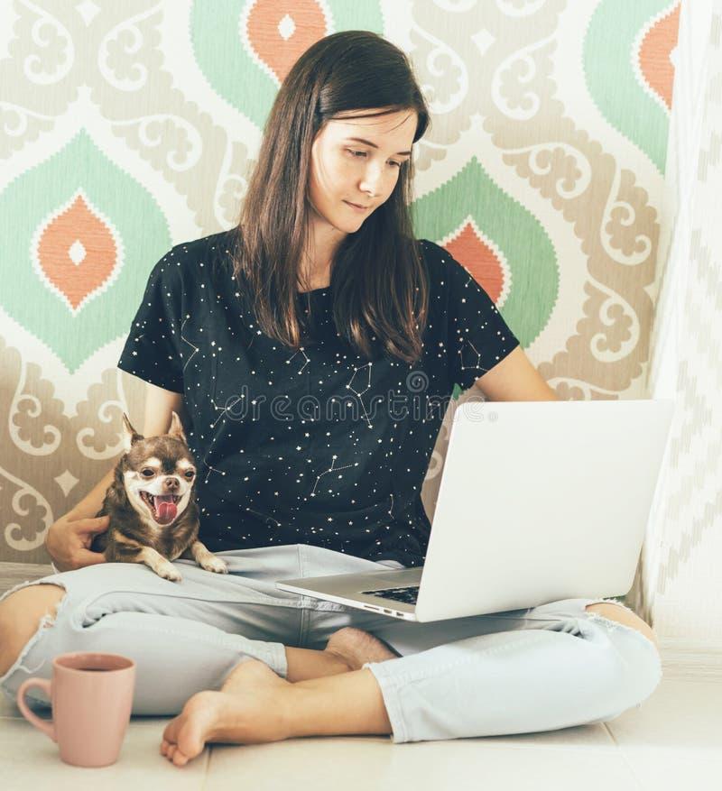 Θηλυκό freelancer με τη συνεδρίαση lap-top στο πάτωμα στοκ φωτογραφία με δικαίωμα ελεύθερης χρήσης