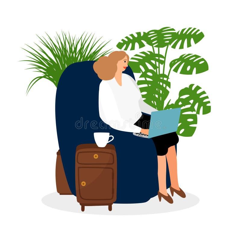 Θηλυκό freelancer που απασχολείται στην προεδρία στη διανυσματική απεικόνιση Σε απευθείας σύνδεση έννοια εργασίας διανυσματική απεικόνιση