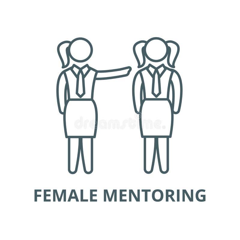 Θηλυκό mentoring διανυσματικό εικονίδιο γραμμών, γραμμική έννοια, σημάδι περιλήψεων, σύμβολο διανυσματική απεικόνιση