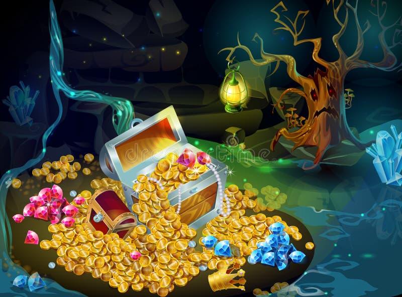 Θησαυρός παιχνιδιών κινούμενων σχεδίων και υπόβαθρο τροπαίων διανυσματική απεικόνιση