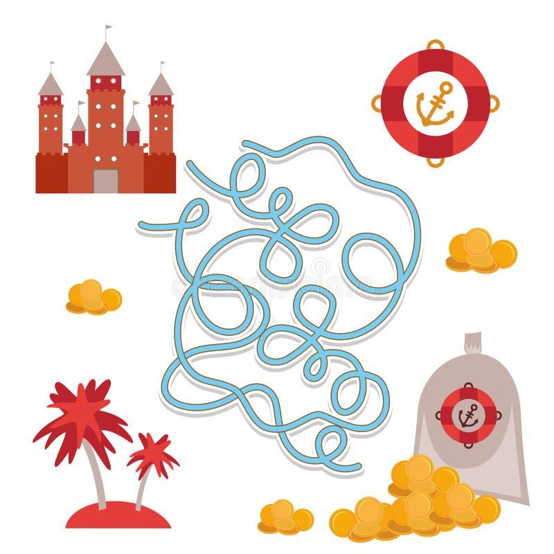 Θησαυρός πειρατών, χαριτωμένο παιχνίδι λαβύρινθων συλλογής αντικειμένων θάλασσας για τα προσχολικά παιδιά διάνυσμα ελεύθερη απεικόνιση δικαιώματος