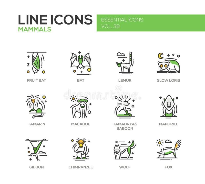 Θηλαστικά - εικονίδια σχεδίου γραμμών καθορισμένα απεικόνιση αποθεμάτων