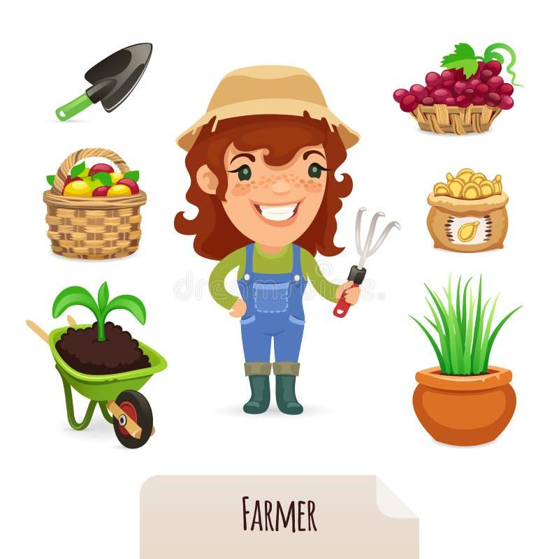 Θηλυκά εικονίδια της Farmer καθορισμένα διανυσματική απεικόνιση