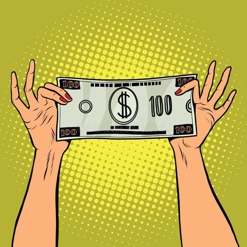 Θηλυκά χέρια που κρατούν το λογαριασμό εκατό δολαρίων ελεύθερη απεικόνιση δικαιώματος