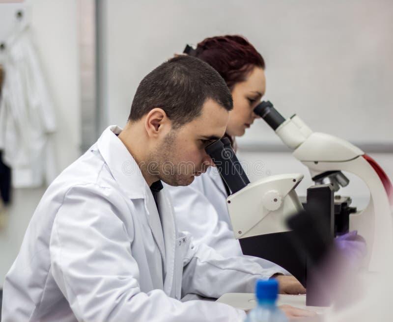 Θηλυκές και αρσενικές ιατρικές ή επιστημονικές ερευνητές ή γυναίκες και μ στοκ εικόνες