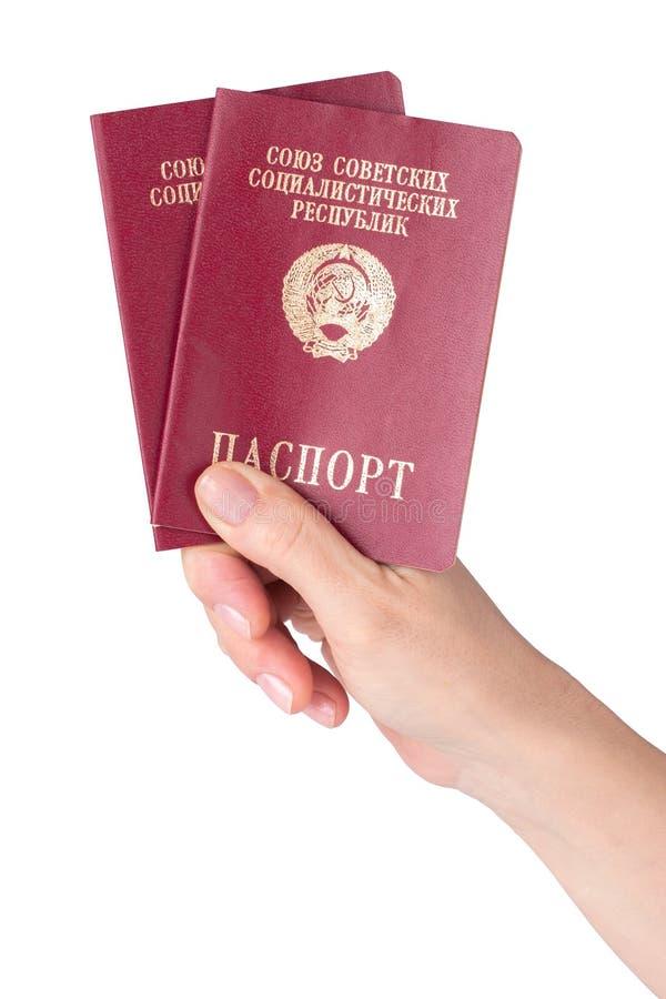 Θηλυκή εκμετάλλευση χεριών pasports της Σοβιετικής Ένωσης στοκ φωτογραφία με δικαίωμα ελεύθερης χρήσης