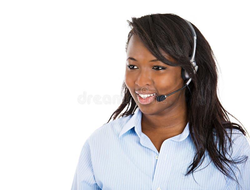 Θηλυκή εξυπηρέτηση πελατών αντιπροσωπευτική με την ελεύθερη συσκευή χεριών στοκ εικόνες με δικαίωμα ελεύθερης χρήσης
