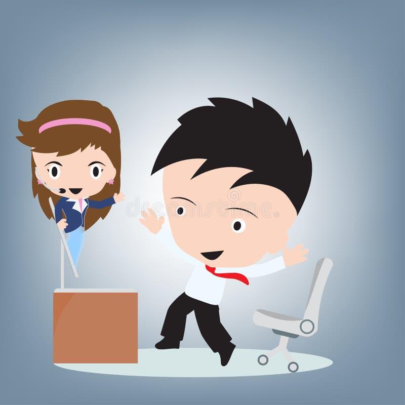 Θηλυκή εξυπηρέτηση πελατών που φορά τις κάσκες showup στον υπολογιστή και το χρήστη ευτυχείς για τη μακρινή υποστήριξη, τις υπηρε διανυσματική απεικόνιση