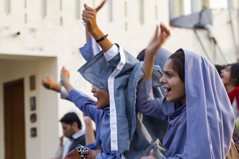 θηλυκή μουσουλμανική διαμαρτυρία σπουδαστών στοκ φωτογραφίες με δικαίωμα ελεύθερης χρήσης
