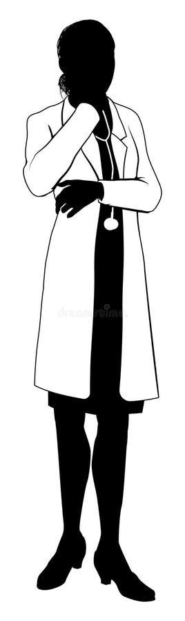 Θηλυκή σκιαγραφία γιατρών διανυσματική απεικόνιση