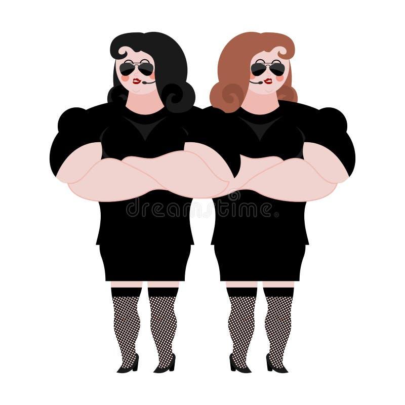 Θηλυκή σωματοφυλακή Ισχυρή φρουρά γυναικών στο νυχτερινό κέντρο διασκέδασης Μαύρο κοστούμι α ελεύθερη απεικόνιση δικαιώματος