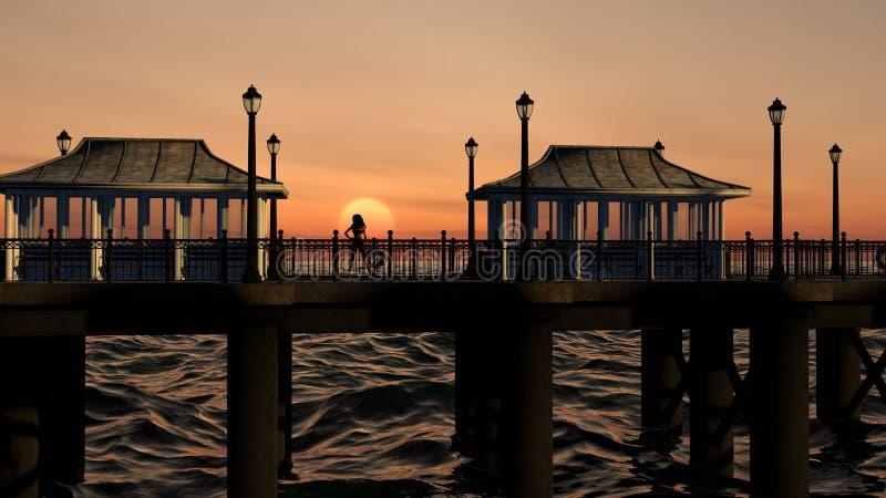 Θηλυκή τοποθέτηση στο ηλιοβασίλεμα σε μια αποβάθρα Oceanfront απεικόνιση αποθεμάτων