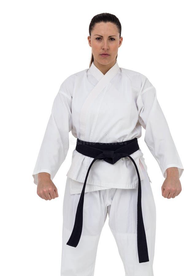 Θηλυκή karate τοποθέτηση φορέων στο άσπρο υπόβαθρο στοκ φωτογραφίες με δικαίωμα ελεύθερης χρήσης