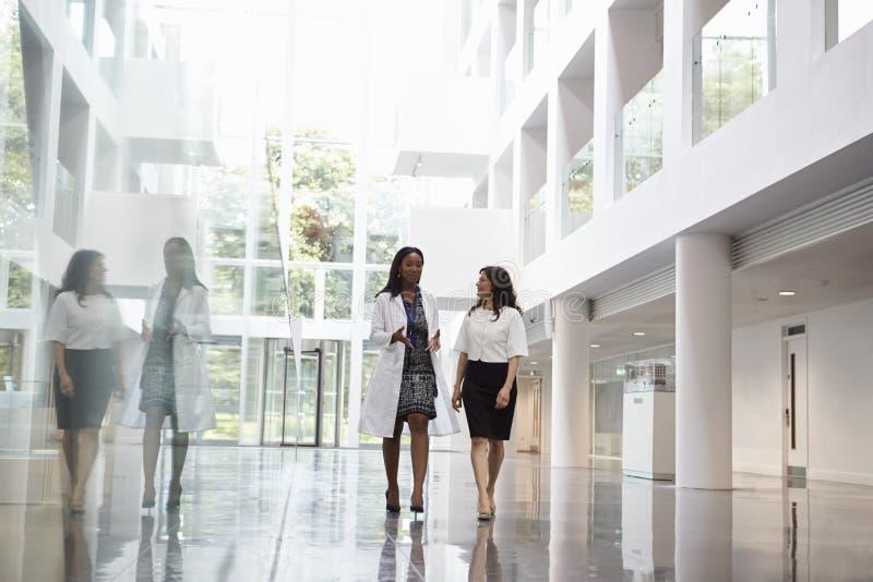 Θηλυκοί γιατροί που μιλούν καθώς περπατούν μέσω του νοσοκομείου στοκ εικόνες