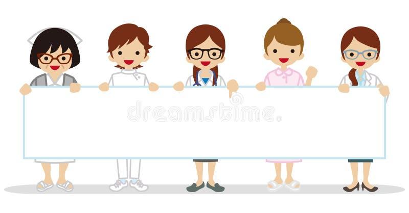 Θηλυκοί ιατρικοί άνθρωποι επαγγέλματος που κρατούν μια κενή αφίσσα απεικόνιση αποθεμάτων